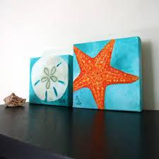 original paintings sand dollar starfish set 5x5 oil on canvas home decor