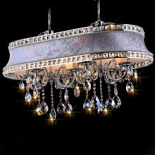 dirige chandelier with oval fabric covered shade