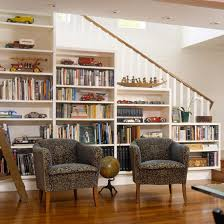 stair step bookshelf storage solutions for finished basements