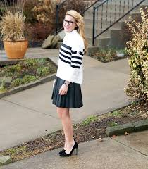 kate spade broome street striped sweater and j crew faux leather pleated mini skirt