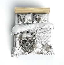 deny sugar skull duvet cover featherweight beige skull bedding sugar skull with flowers on cream comforter