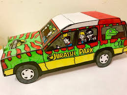 Foldable Paper Car Foldable Paper Jurassic Park Car Etsy