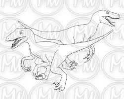 Dinosaurus Velociraptor Afdrukbare Kleurplaat Digitale Etsy