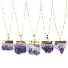natural gold plating slice healing stone purple crystal quartz fashion jewelry pendant necklace druzy amethyst necklace