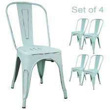 Amazon com devoko metal indoor outdoor chairs distressed style kitchen dining chair stackable side chairs with back set of 4 dream blue chairs