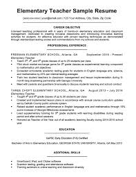 Resume Template Teacher Enchanting Elementary Teacher Resume Sample Download Sample Resume Teacher