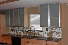 fullsize of plush frosted glass door mounted cabinetryshelves over brown glas tiled counters added fl wall