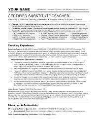 ... Pleasing Resume for Substitute Teacher Skills for Resume Substitute  Teacher ...