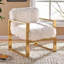 gold accent chair fresh 516fur accent chair meridian furniture milo white fur on gold with