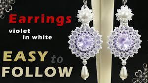 how to make beaded earrings using 14 mm rivoli beading tutorial