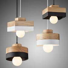 modern simple wooden handmade chandelier with black white iron shape