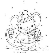Cute Little Christmas Mouse Kids Coloringcoloring