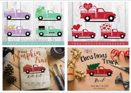 Files are compatible with cricut, cameo silhouette studio and other cutting machines. Vintage Red Truck Free Svgs Project Ideas