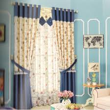 Cotton Fabric Blackout Curtains Navy For Kids