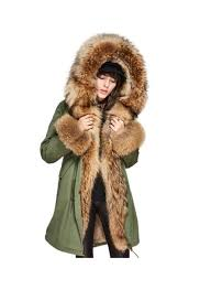 military style army green winter coat with hood finn rac rabbit fur lining