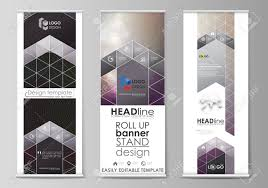 Flyers Flag Roll Up Banner Stands Flat Design Templates Business Concept