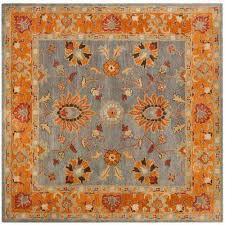 heritage blue orange 8 ft x 8 ft square area rug