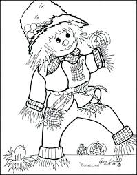 scarecrow coloring pages printable thanksgiving