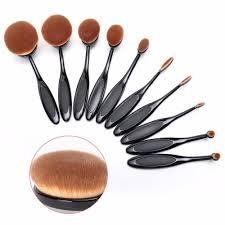 genkent 10 pcs oval makeup brush fashionable super soft brushes contour powder blush brush cosmetic tool set makeup brushes worldwide
