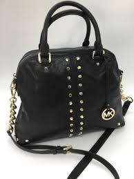 michael kors black leather uptown astor studded large satchel bag nwt