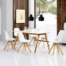 En Casa Esstisch Bambus Mit 6 Stühlen Gepolstert Weiß Tisch Avec