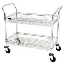 eagle group wbc1836c 2b 18 x 36 two shelf chrome utility cart with wire basket shelves