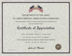 Certificates Of Appreciation Special Operations Command Certificate Of Appreciation