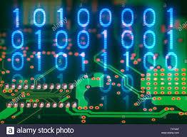 Digital Hardware Design Engineer Binary Code Printed Circuit Board Back Side Digital