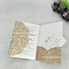 Invitation Quincenera Luxury Rose Gold Glittery Laser Cut Quinceanera Invitation With Rsvp Card Silver Gold Champagne Wedding Invitations Cheap Wedding Invitations Packs