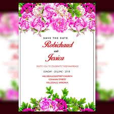 Invitation Card Sample Romantic Wedding Invitation Card Template With Pink Flower Border