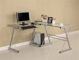 office desk computer. Contemporary L-shaped Corner Clear Glass Office Desk Computer
