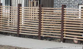 horizontal wood and metal fence. Fine And Horizontal Fence With Metal Posts Wood Steel Picture   Interunet Inside And H
