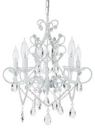 theresa 5 light wrought iron crystal chandelier white
