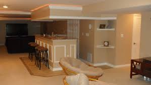 Modern Basement After Remodel Design With Low Ceiling And Light Brown  Interior Color Plus Mini Bar home ...