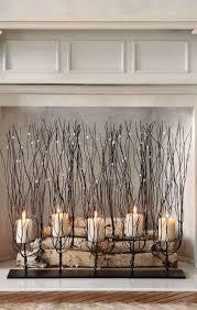decorative fireplace firewood birch metallic candle holders