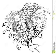 japanese for mask japanese demon mask and carp fish tattoo design hand drawn oni mask