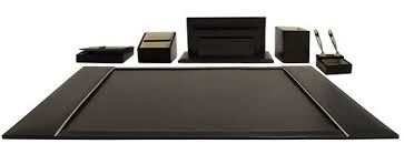 Grandluxe Executive Desk Set Genuine Leather - Black