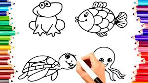 Teach Children Draw Water Animals Frog Fish Coloring Book Pages