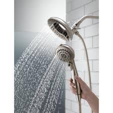 modern shower heads. Ceramic Tile Wall Design With Delta Shower Heads Also Rain And Wooden Flooring For Modern Bathroom Decor