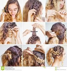 Cours Tressé Dupdo Pour Des Cheveux Bouclés Image Stock