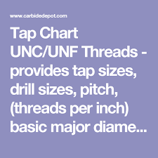 Tap Chart Unc Unf Threads Provides Tap Sizes Drill Sizes