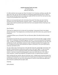 Follow Up Letter After Interview Examples Business Letters Sample