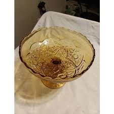 vintage amber glass vintage amber glass pedestal bowl compote cut glass and scalloped edge vintage amber