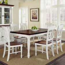 home styles monarch 7 piece dining table set with 6 double x back chairs white oak hayneedle