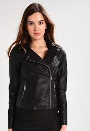 noisy may tall nmrebel faux leather jacket black women clothing jackets noisy may faux leather jacket with ribbing stylish