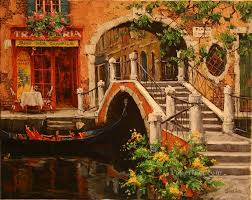 across the bridge venice scenes oil paintings