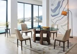 rectangular wood with gl top leather dining room design