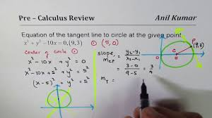 pre calculus equation of tangent line on circle x 2 y 2 10x 0