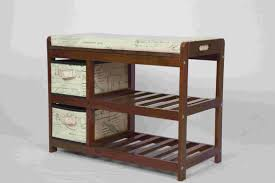 furniture shoe storage. Walnut Classical Modern Wood Furniture Shoe Storage Bench Seat With 2 Fabric Drawers