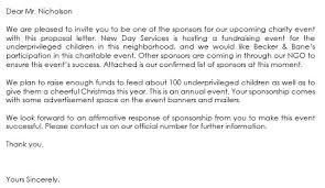 Proposal Letter For Sponsorship Sample For Event Sponsorship Letter Samples Write Best Sponsorship Letters